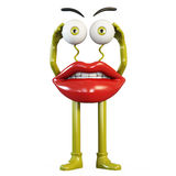 Figurine lips with yellow eyes. On white Stock Photos