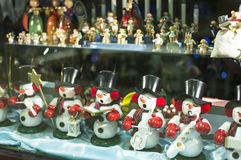 Figurine musicale de bonhomme de neige Photos stock