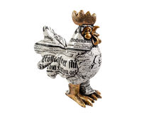 Figurine of a rooster on a white background. Cock on a white background, the Chinese auspicious symbol Royalty Free Stock Photos