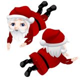 Figurine of Santa Claus, lying in front and back. Image of Christmas symbol in different positions. Cartoon character. Vector illustration isolated on white Royalty Free Stock Photo