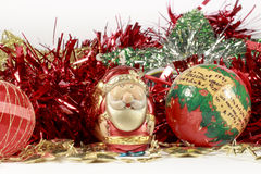 Figurine of Santa Claus and other holiday decorations Stock Image
