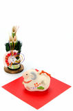 Figurine of Sheep and New Year's pine. Royalty Free Stock Image