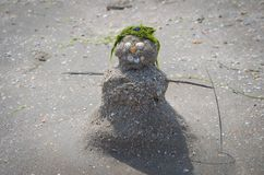 Figurine of a Snowman out of sand, shells and seaweed on the beach. Man of sand Stock Photos