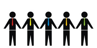 Figurine and tie. A group of people with a tie. Various colors Royalty Free Stock Photo