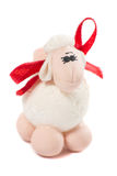 Figurine toy lamb isolated on white background Royalty Free Stock Image