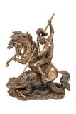 Figurine a warrior on horseback fighting the dragon. Bronze statuette of George the Victorious the dragon wins isolated on a white background Stock Photography