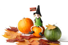 Figurine of a witch and pumpkin Stock Images