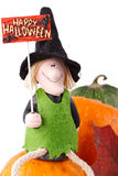 Figurine of a witch and pumpkin Royalty Free Stock Images