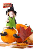 Figurine of a witch and pumpkin Stock Photo