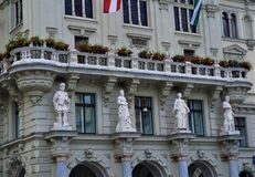 The figurines on the city hall of Graz royalty free stock photo