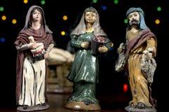 Figurines de scène de nativité Traditions de Noël Photo stock