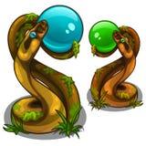Figurines des serpents tenant les boules, le bleu et le vert Image stock
