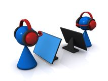 Figurines with headsets and monitors. Two abstract people figures wearing headsets near computer monitors.  Help desk theme Royalty Free Stock Photography
