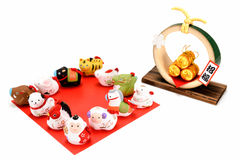 Figurines of 12 including the year of the Monkey. Stock Photography