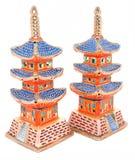 Figurines japonaises de pagoda de porcelaine Image stock