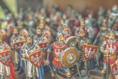 Figurines of knights. Small metal figurines of knights Stock Image