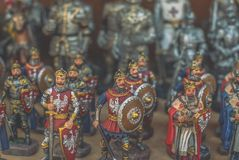 Figurines of knights. Small metal figurines of knights Royalty Free Stock Photos