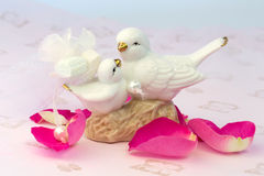 Figurines of lovers pair of wedding doves Valentine love Stock Images