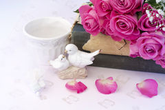 Figurines of lovers pair of wedding doves Valentine love Stock Image