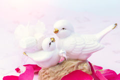 Figurines of lovers pair of wedding doves Valentine love tenderness vintage retro selective soft focus Royalty Free Stock Images