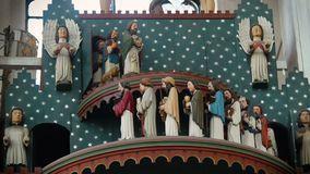 Figurines of saints moving on ancient astronomical clock, St Mary Church, Gdansk. Stock footage stock video footage