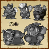 Figurines scary funny trolls in a variety of five. Roles, vector set Stock Photo