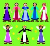 Figurines stylisées de filles dans la robe rurale Photo libre de droits