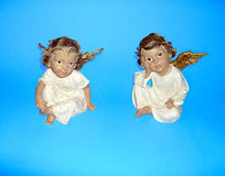 Figurines of  two small angels. Royalty Free Stock Image