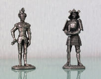 Figurines of two soldiers Stock Photos