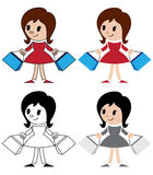 Figurines of women with packets. Illustration of a figurines of women with packets Royalty Free Stock Photography