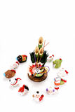 Figurines of the zodiac and New Year's pine. Figurines of 12 including the year of the Monkey royalty free stock image