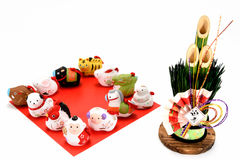 Figurines of the zodiac and New Year's pine. Stock Image