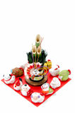 Figurines of the zodiac and New Year's pine. Stock Photography
