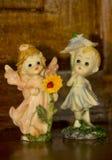 Figurins da porcelana dois anjos pequenos Foto de Stock Royalty Free