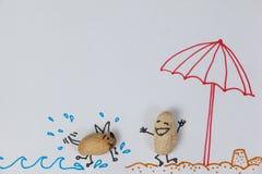 Figurka psi bieg w kierunku szczęśliwej figurki mężczyzna na plaży ilustracji