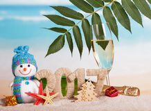 Figuur de champagnefles van 2017, glas, sneeuwman, blad, zeester tegen overzees Royalty-vrije Stock Afbeelding