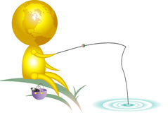 Fihing. Unique drawing of glob character fishing Stock Photos
