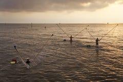 Fihsing in mekong delta Stock Foto's