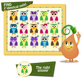 Fiind two identical owls 2. Visual Game for children. Task: find two identical owls Stock Photography