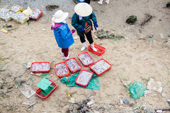 Fiish market on the beach in Quang Binh province, Vietnam Royalty Free Stock Image