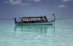 Fiishing boat, Maldives. Traditional fishing boat at mooring, Maldives Royalty Free Stock Photos