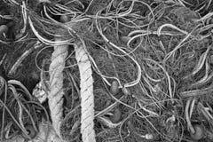 Fiishing prennent le séchage au filet sur le pilier en Grèce, noire et blanche Images stock