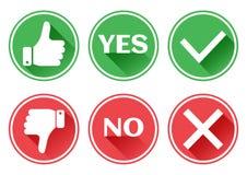 Fijado botones rojos y verdes de los iconos Pulgar hacia arriba y hacia abajo Como y aversi?n Confirmaci?n y rechazo S? y No Vect stock de ilustración