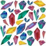 Fijado con el ejemplo de la acuarela de las gemas de los cristales ilustración del vector