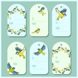 Fijado con las etiquetas del regalo de los pájaros de la primavera del paro El vector etiqueta la colecci?n stock de ilustración