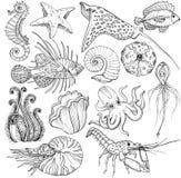 Fijado con vida marina dibujada mano ilustración del vector
