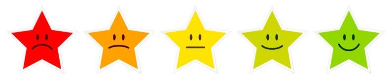 Fijado de cinco estrellas coloridas haga frente a mostrar humor ilustración del vector