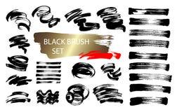 Fijado de 24 colecciones de dibujo de los cepillos de la mano negra de la tinta aisladas en blanco stock de ilustración