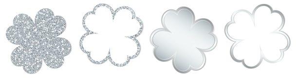 Fijado de cuatro hojas del trébol que chispean y de plata brillante stock de ilustración