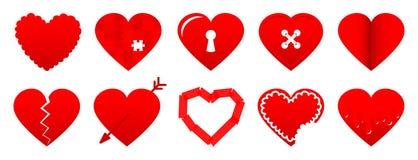 Fijado de diez diversos iconos rojos del corazón ilustración del vector